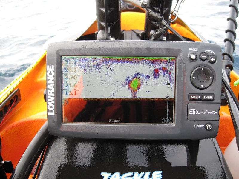 Using Lowrance sounder to locate bait fish